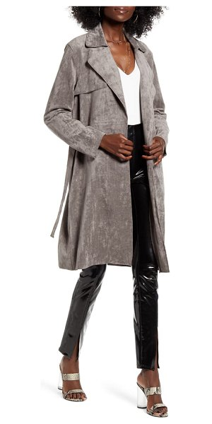 BLANK NYC faux suede trench coat in skull mountain