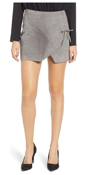 BLANK NYC lace-up suede miniskirt in beige - Rich suede brings a luxe touch to this groovy little...