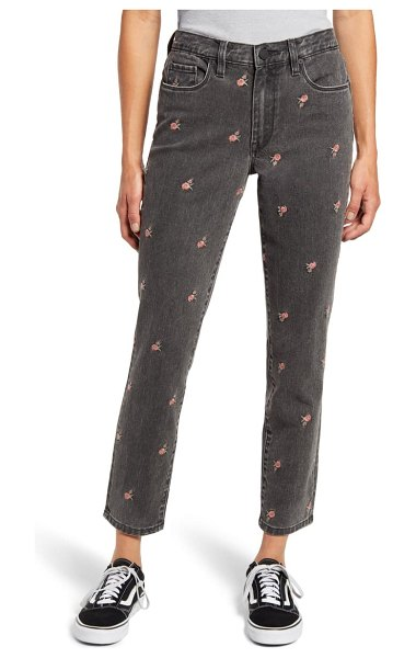 BLANK NYC rosebud embroidered high waist crop slim jeans in cant handle