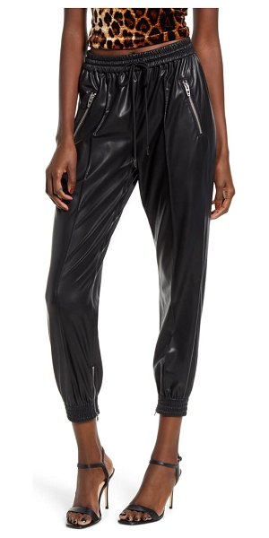 BLANK NYC running wild faux leather track pants in black