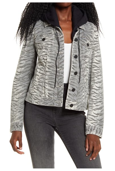 BLANK NYC tiger print denim jacket with removable hood in fatal attraction