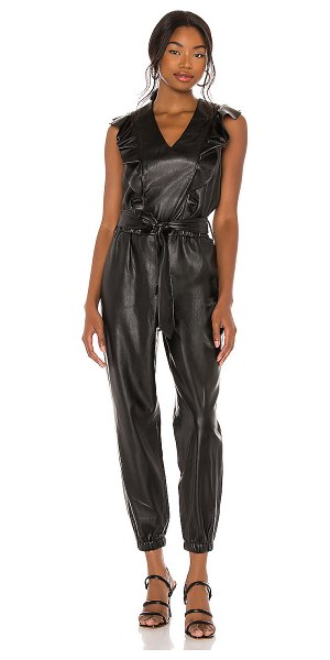 BLANK NYC vegan leather flutter sleeve jumpsuit in the one