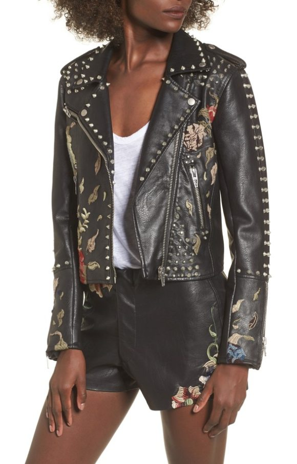 BLANK NYC embroidered studded moto jacket - Gorgeous floral embroidery brings vintage appeal to a...