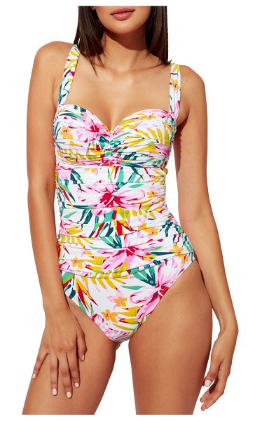 Bleu By Rod Beattie beachy keen shirred one-piece swimsuit in multi colored