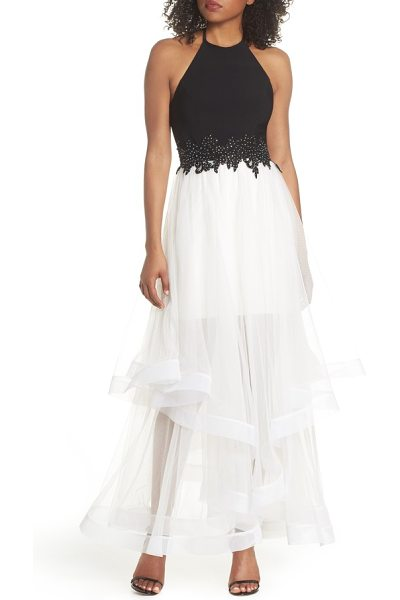 Blondie Nites applique tiered gown in women~~dresses~~dress - Make the night a magical one to remember in this bicolor...