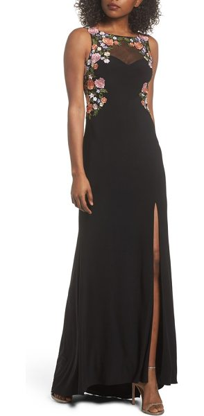 Blondie Nites embellished sheer back knit gown in black - Scattered with sparkling crystals, colorful floral...