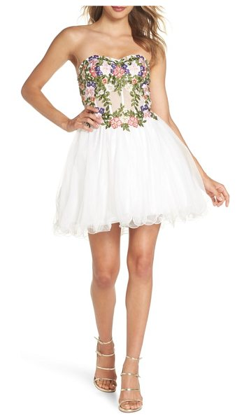 Blondie Nites embroidered lace fit & flare dress in ivory/ multi - Striking embroidered flowers and sparkling crystals...