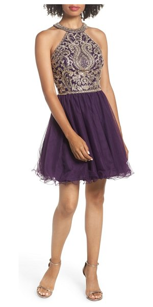 BLONDIE NITES high neck applique fit & flare dress in eggplant/ gold - Glamorous, exotic swirls enliven the bodice of this...