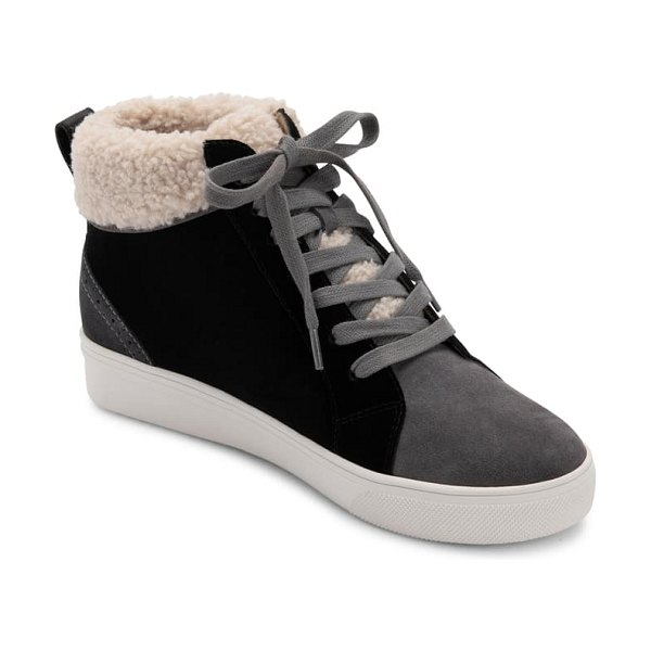 Blondo gulia waterproof faux fur mid sneaker in black leather