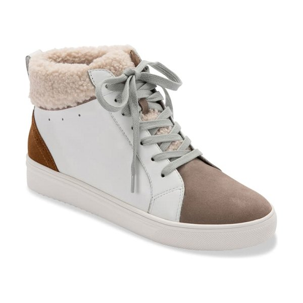 Blondo gulia waterproof faux fur mid sneaker in white leather