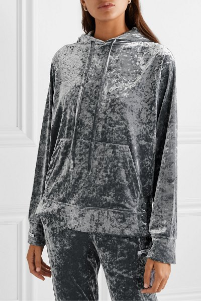 BLOUSE sleepy boy crushed-velvet hoodie in gray