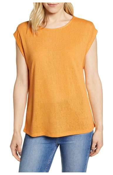 Bobeau cap sleeve knit top in amber-solid
