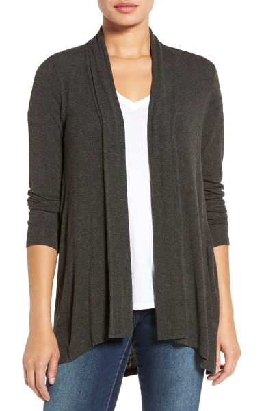 Bobeau high/low jersey cardigan in charcoal