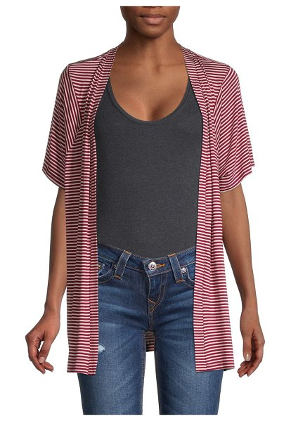 Bobeau Striped Open-Front Cardigan in burgundy off white