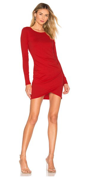 bobi supreme jersey ruched bodycon dress in siren - Bobi Supreme Jersey Ruched Bodycon Dress in Red. - size...