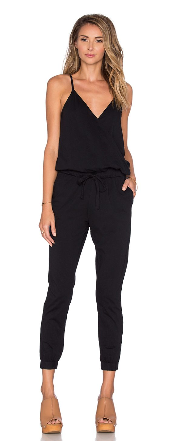 bobi supreme jersey surplice jumpsuit in black