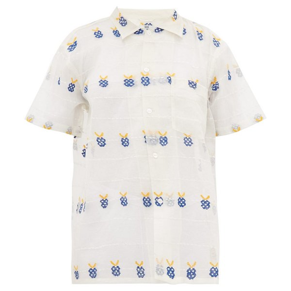 Bode apple-embroidered sheer cotton bowling shirt in white multi
