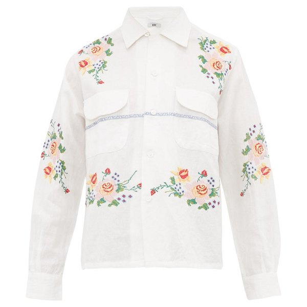 Bode pagoda embroidered cotton-blend shirt in white multi
