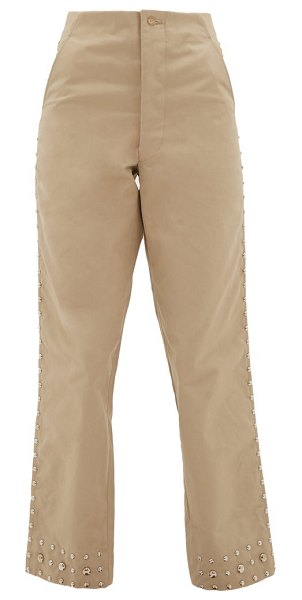 Bode studded cropped cotton-canvas trousers in beige
