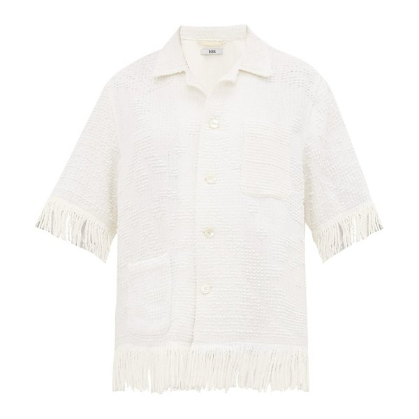 Bode tasselled cotton shirt in white