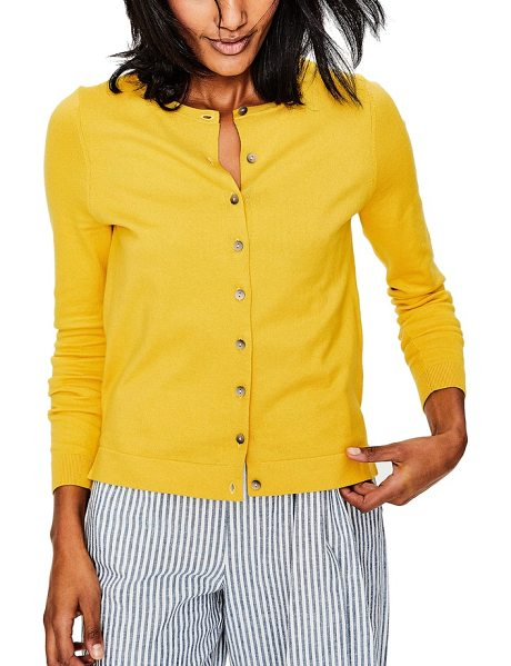 Boden Crewneck Cardigan In Yellow Shopstasy
