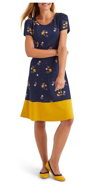 BODEN erica floral fit & flare dress in navy pretty bloom