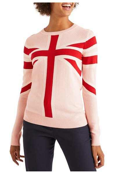BODEN estella sweater in chalky pink union jack
