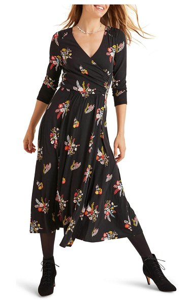 BODEN francesca floral jersey midi wrap dress in black country posy
