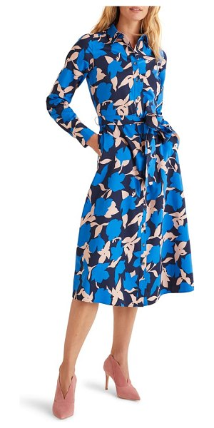 BODEN isodora print long sleeve cotton shirtdress in bold blue clematis large