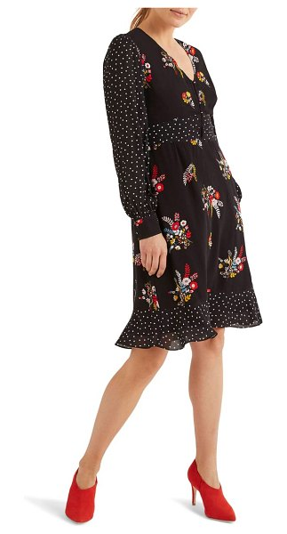 BODEN ivy long sleeve mixed print dress in black country posy