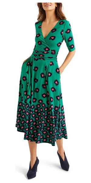 BODEN kassidy jersey midi dress in green bloom stamp