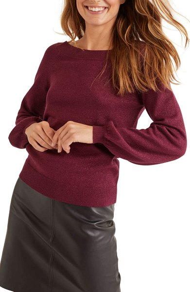 BODEN mabel metallic bishop sleeve sweater in ruby ring sparkle