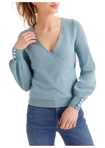 BODEN maddie button cuff surplice sweater in heritage blue