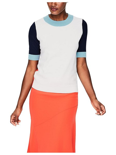 BODEN multicolor knit tee in ivory colourblock - Slip into a bold spectrum of spirit-brightening color...