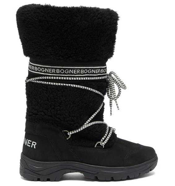 Bogner alta badia 1b suede and shearling boots in black