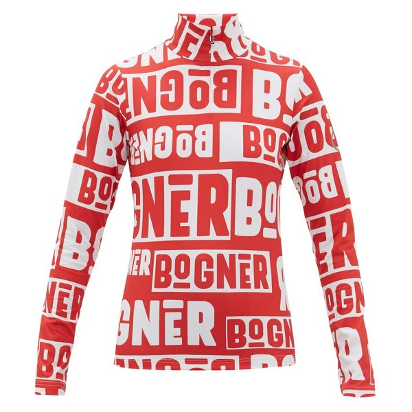 Bogner beline logo-print quarter-zip thermal top in red white