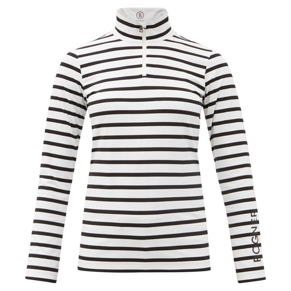 Bogner beline striped stretch-jersey base-layer top in white stripe