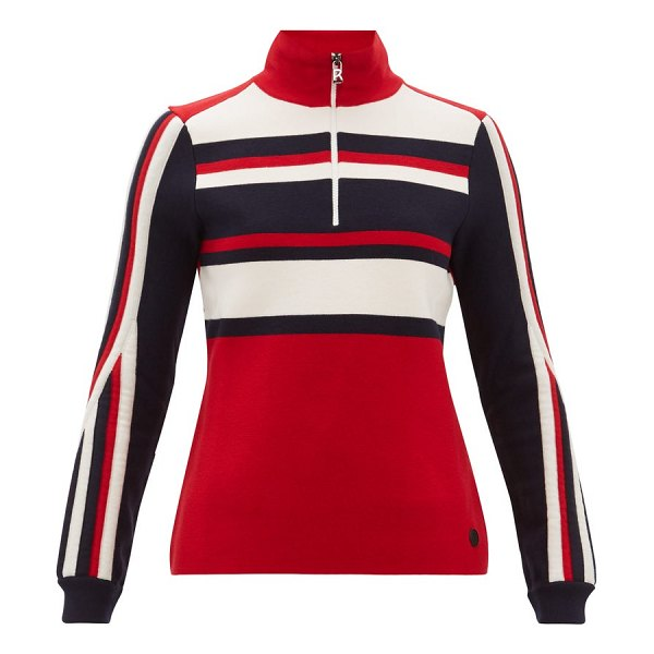 Bogner dafne striped zipped wool blend sweater in red