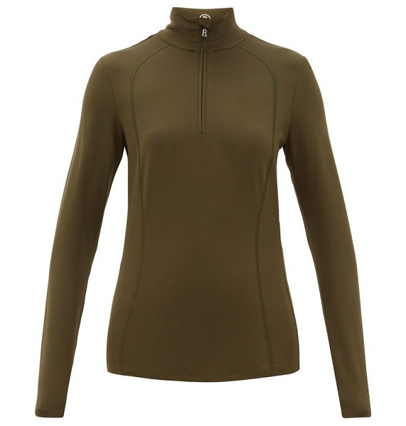 Bogner madita half-zip thermal top in khaki