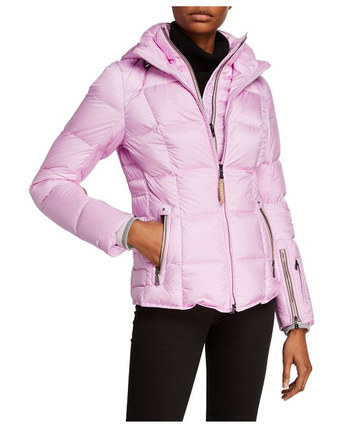 Bogner Sanne Quilted Down Puffer Coat with Hood in purple
