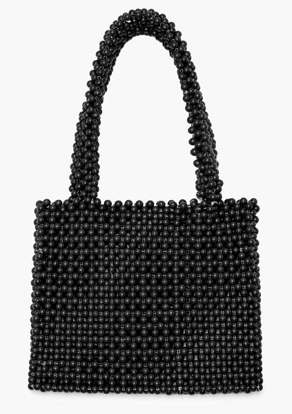 Boohoo All Over Beaded Grab Bag in black