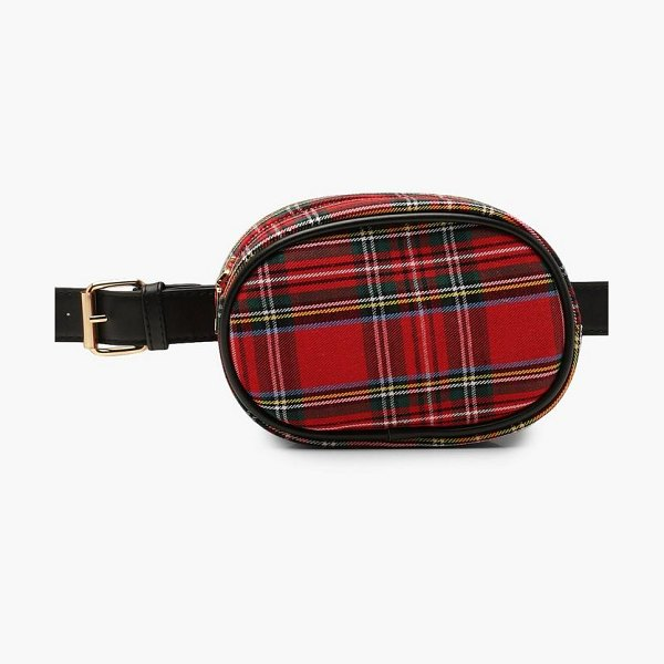 Boohoo All Over Check Belt Bag in red - Add attitude with accessories for those fashion-forward...