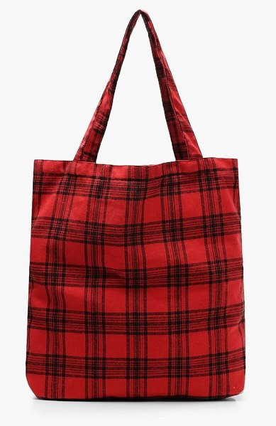 Boohoo All Over Check Shopper in red - Add attitude with accessories for those fashion-forward...
