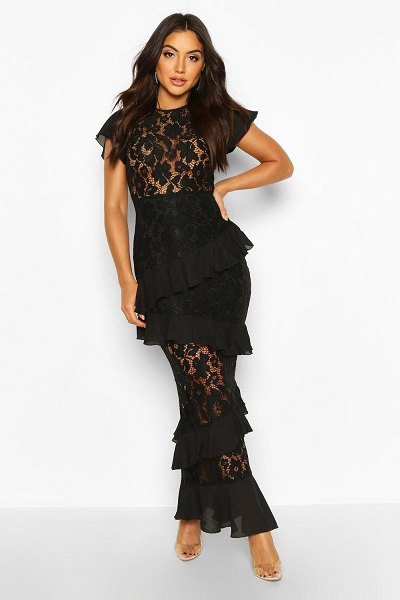 Boohoo All Over Lace Ruffle Maxi Dress in black