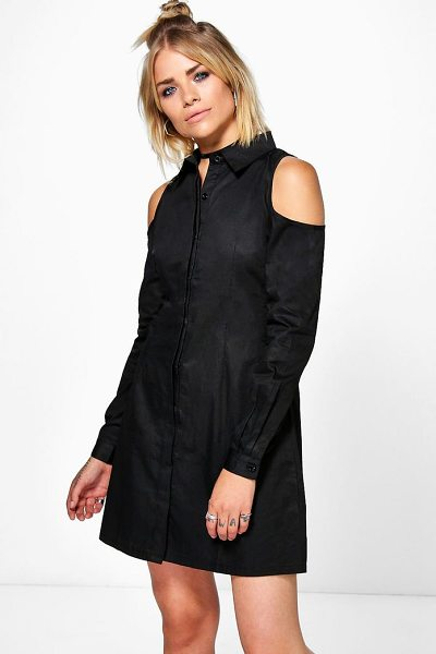 Boohoo Allie Sleeveless Lace Up Back Shirt Dress in Black  6b002e64d