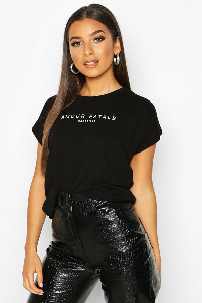 Boohoo Amour Fatale French Slogan T-Shirt in black