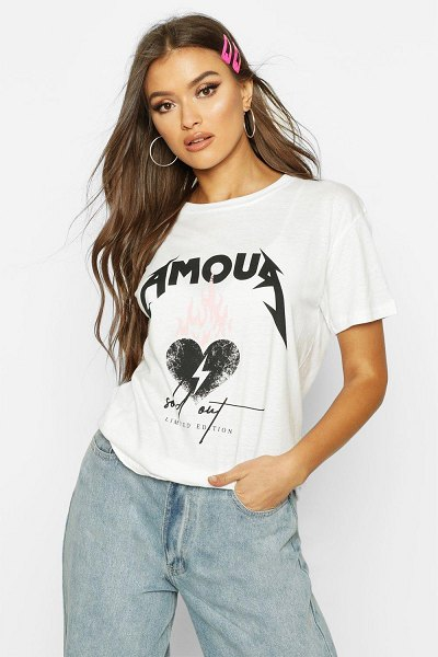 Boohoo Amour Heart Slogan T-Shirt in white