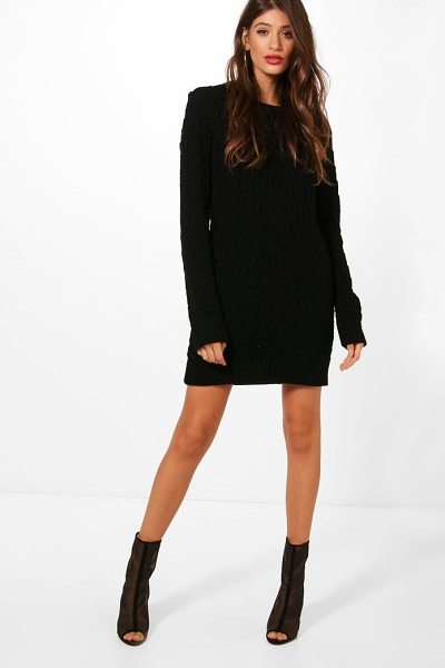 Boohoo Full Cable Knit Jumper Dress In Black Shopstasy
