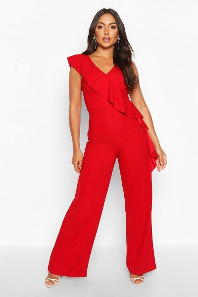 Boohoo Asymetric Ruffle Wide Leg Jumpsuit in red