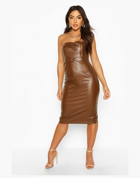Boohoo Bandeau Leather Look Belted Midi Dress in chocolate